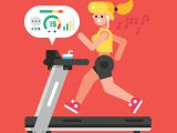 Girl listening to music while running on treadmill. Vector flat illustration.